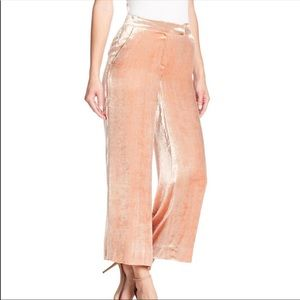 ALC Pink Crushed Velvet Wide Leg Cropped Pants 10